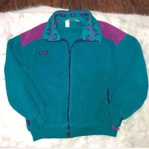 Vintage Columbia teal and purple fleece zip up XL